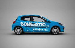 蓝色车身广告