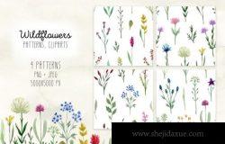 手绘水彩野花无缝拼接图案合集包 Watercolor Wildflowers