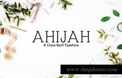 简洁衬线字体家族 Ahijah A Clean Serif 3 Font Family