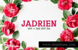 花卉字体 Jadrien Serif Sans Duo 5 Font Pack