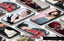 苹果Xs手机APP贴图样机模版素材 iPhone XS Mockup Isometric