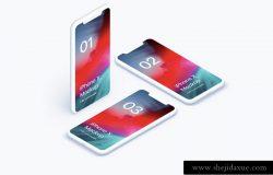 iPhone X Clay Isometric 苹果Xs白模等距透视角度 APP手机网页贴图展示