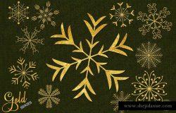 金色雪花圣诞装饰素材合集 Gold snowflakes christmas decoration