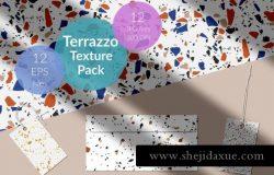 大理石瓷砖纹理碎纸图案马赛克图案 Terrazzo Tile Textures