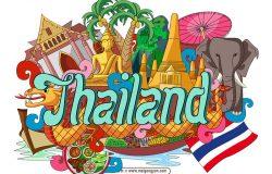 手绘涂鸦世界国家城市泰国特色建筑矢量元素thailand
