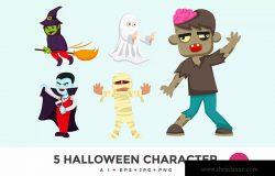 5个万圣节可爱怪物卡通人物矢量图形素材v1 5 Cute Halloween Monster Vector Character
