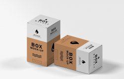 等距概念纸盒外包装设计样机模板