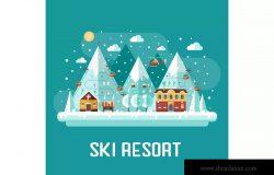 冬季滑雪场扁平设计风格场景插画