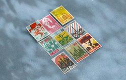 复古邮票模板PSD样机素材
