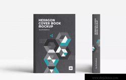 精装图书封面设计效果图样机 Hexagon Cover Book Mockup