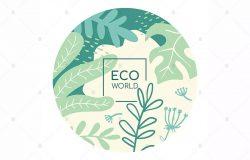 绿色环保生态世界主题扁平设计风格矢量设计素材