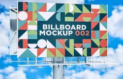 城市公路巨型广告牌设计样机模板