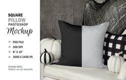 万圣节南瓜头元素方形枕头图案设计样机