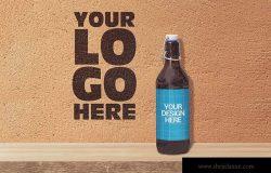 手拉盖50cl啤酒酒瓶外观设计效果图样机 Shelf 50cl Bottle Beer Mockup