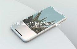 iPhone 11手机屏幕作品展示PSD样机模板