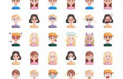 30枚扁平设计风格人物头像&表情矢量图标