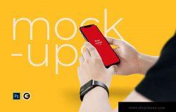 逼真实景手持iPhone 11手机样机