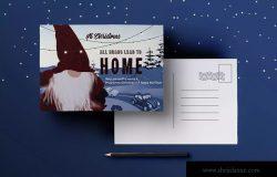 回家主题圣诞明信片设计模板 Homecoming Christmas Postcard