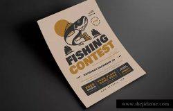 钓鱼比赛活动宣传海报设计模板 Fishing Contest Event Flyer