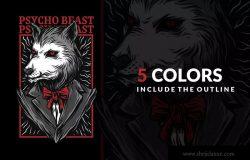 精神病野兽潮牌T恤印花图案设计素材 Psycho Beast