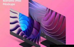 iMac一体机网站UI设计效果图预览样机素材v2 Isometric iMac Mockup 2.0