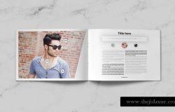 时尚高端清新简约品牌手册画册楼书杂志设计模板