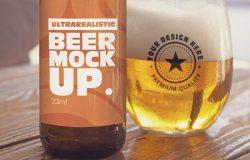 啤酒罐&啤酒杯Logo印花图案设计图样机