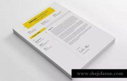清新简约设计风格个人电子简历&推荐信二合一模板 Resume Template 39