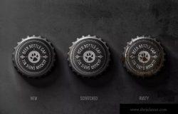 瓶盖金属锡标Logo设计效果图样机模板 Bottle Cap Metal Tin Signs Mockup