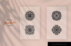 手工绘制曼陀罗花卉矢量图案素材v2 Hand Drawn Mandala Ornaments