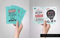 创意节日派对邀请函/贺卡样机 Invitation / Greeting Card Mock-Up