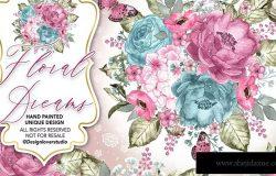 粉红水彩花卉婚礼剪贴画设计素材 Floral Dreams design