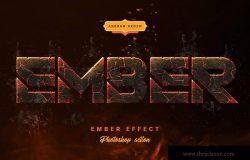 余烬/熔岩/岩浆/火焰字体标题特效PS动作 Ember Effect – Photoshop Action