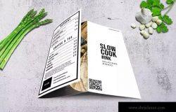 简约文字排版设计三折页菜单模板 Clean & Fresh Trifold A4 & US Letter Menu