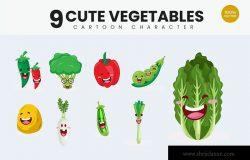 9个蔬菜可爱卡通形象矢量插画v2 9 Cute Vegetables Vector Illustration