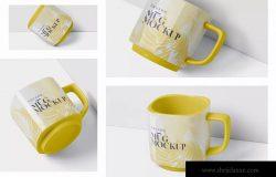 方形马克杯图案设计样机模板 Mug Mockup – Square Shaped