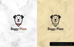 宠物店宠物照料Logo徽标设计模板 Doggy Place Logo Template