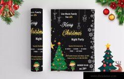 圣诞节晚会活动海报设计模板 Christmas Night Party – Flyer