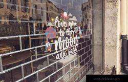 商店橱窗落地玻璃Logo贴纸设计效果图样机 Shop Window Logo Mockup