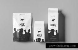 牛奶饮料奶制品包装样机模板 Milk Mock-up