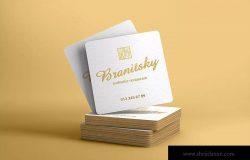 圆角方形名片设计图样机 Square Business Card With Rounded Corners Mockups