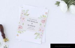 淡雅水彩背景婚礼邀请设计素材包 Set of Watercolor Wedding Suite