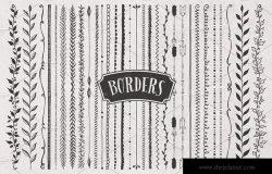 黑板画粉笔画装饰元素设计素材 Borders, Corners & Frames Super Kit