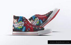 牛仔休闲运动鞋样机模板 Sneakers Mock-Up v1