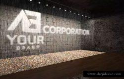3D企业logo墙壁艺术样机模板