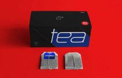 茶叶盒和标签样机模版 Tea Box and Label Mockup Set