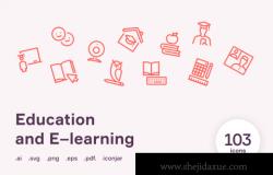 在线教育培训矢量图标集 Education & E–learning