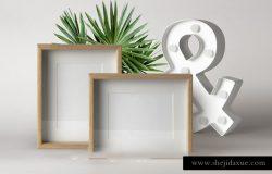 实木相框贴图样机模版 Psd Wood Frame Mockup Vol9