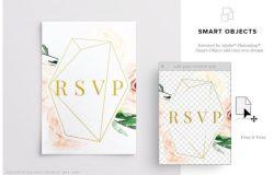 信封邀请函样机模板 Wedding Invite Envelope Mockup