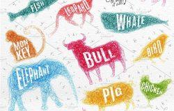 矢量手绘线条缠绕动物矢量插图